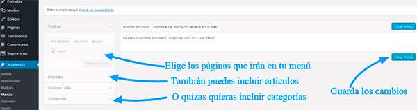 Menú de WordPress.com